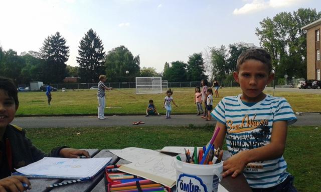 Im Freien wurde gespielt und gelacht beim Nachmittag im Kindern aus dem Flüchtlingswohnheim