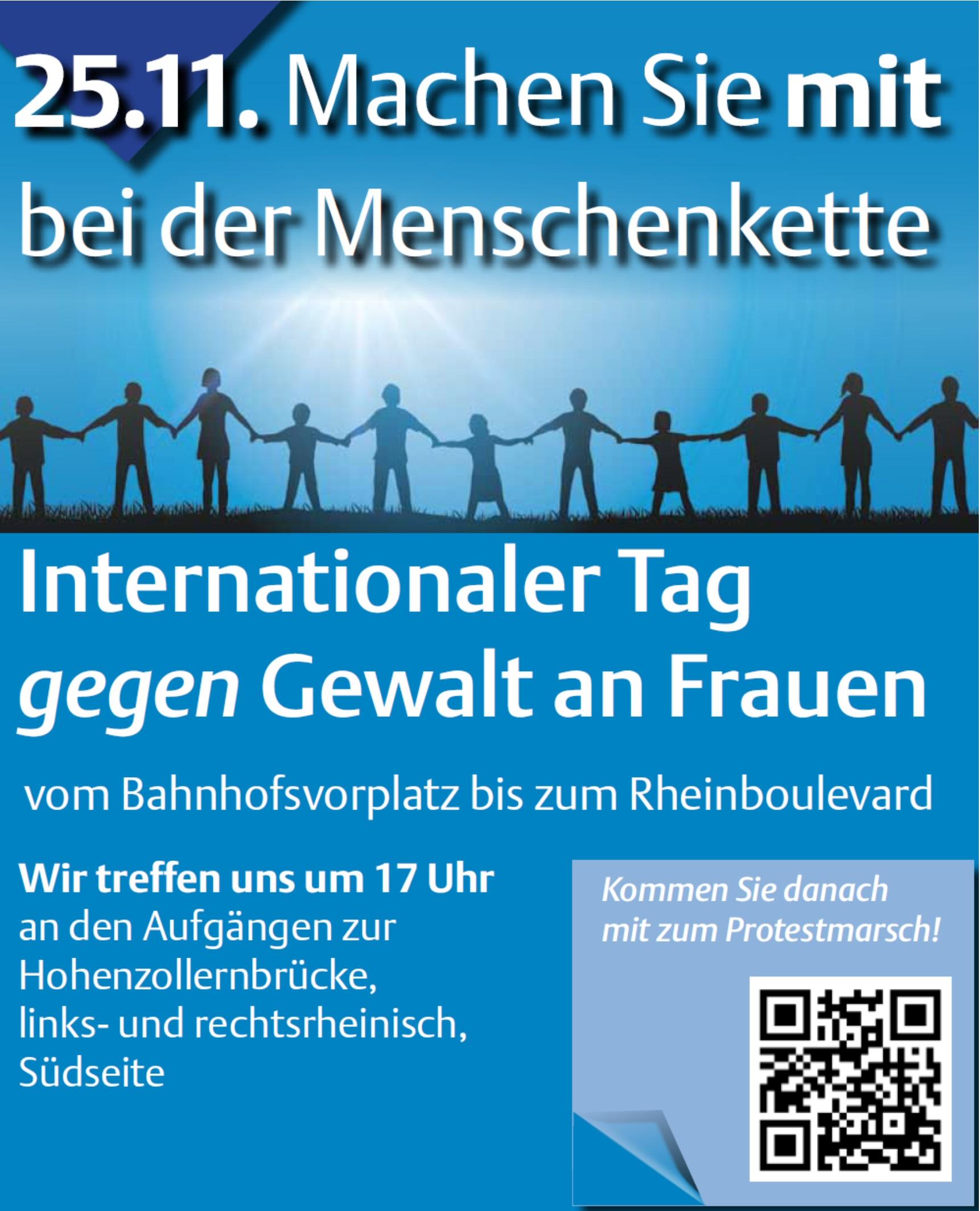 Menschenkette am 25.11.2016 in Köln