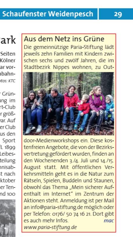 """Termine für """"Ab ins Grüne"""" - Familienfreizeiten der Paria Stiftung"""